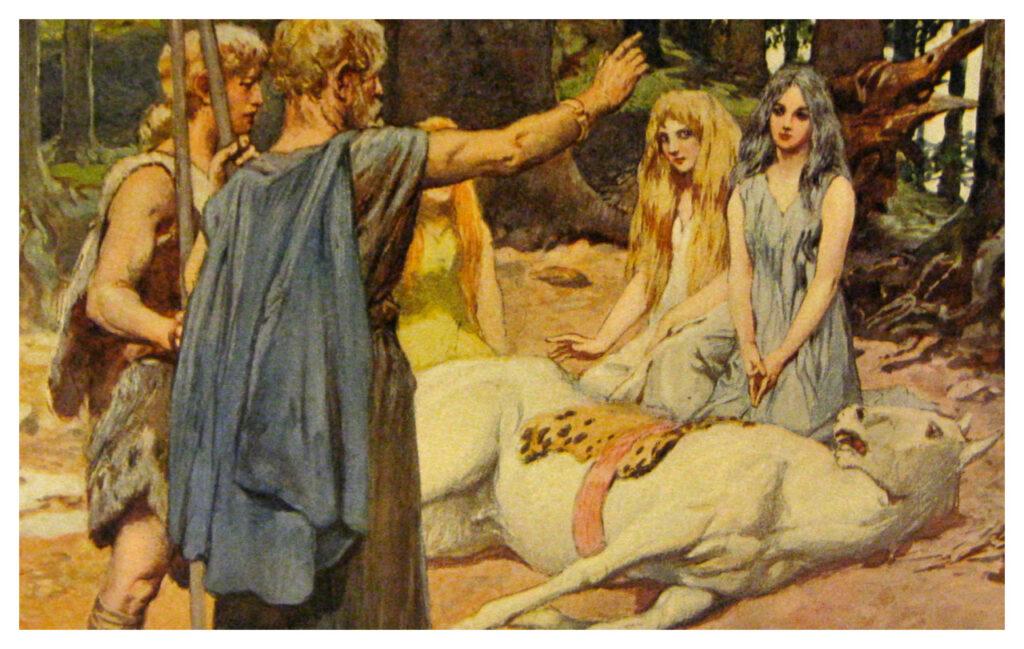 En los encantamientos de Merseburg Phol y Whodan cabalgan por el bosque cuando uno de sus caballos se rompe una pata.